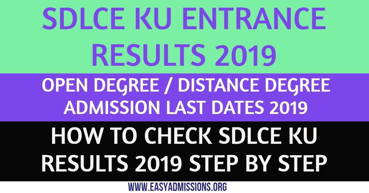 SDLCE KU Entrance Results 2019 |KU SDLCE  Kakatiya University Open Degree Entrance Test Results 2019