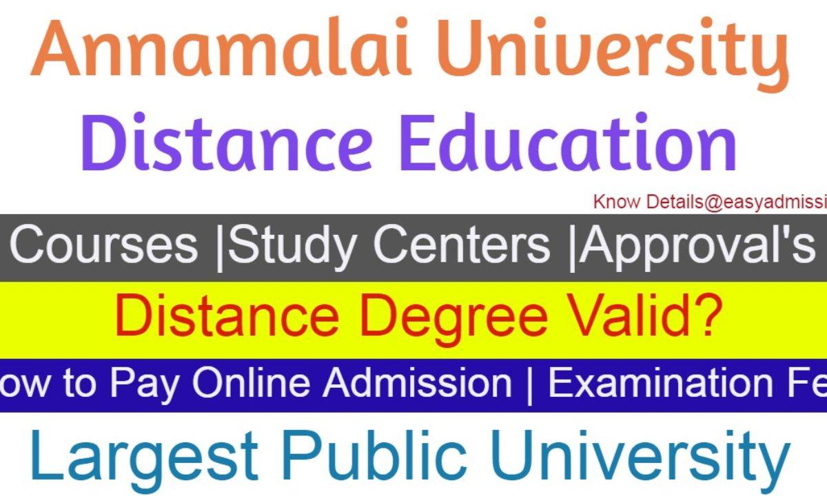 Annamalai University Distance Education Courses Admissions 2019