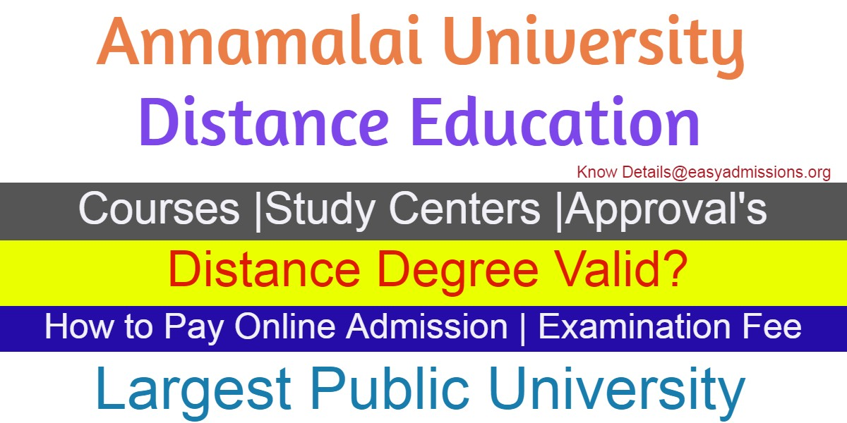 Annamalai University Distance Education Courses Admissions 2019