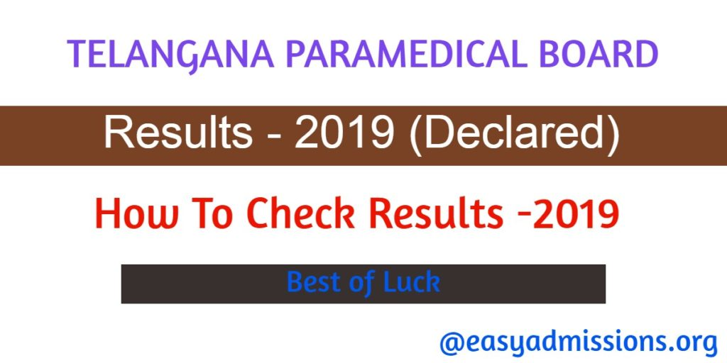 Telangana Paramedical Board Results – 2019