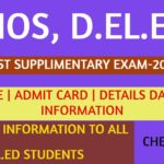 Nios DELED supplementary exam Notification -2020
