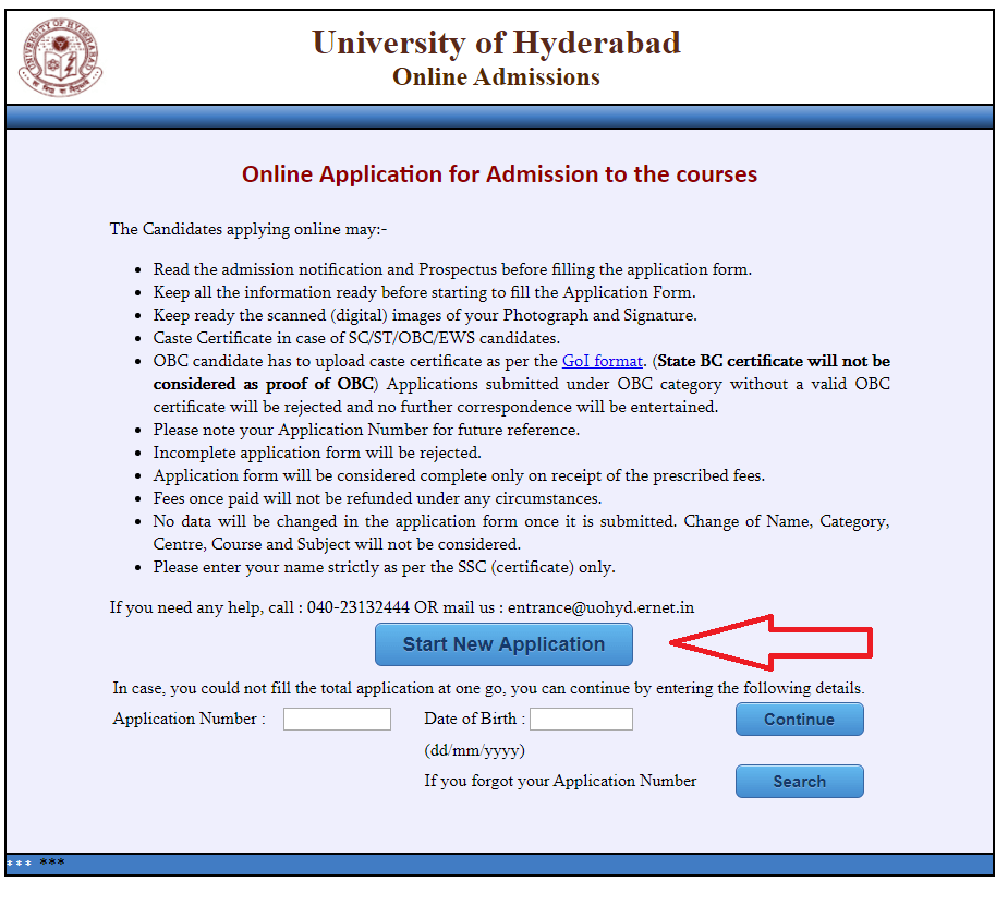 university of hyderabad for mba admission form