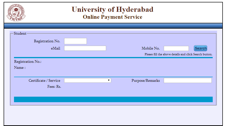 university of hyderabad mba fees payment online gateway