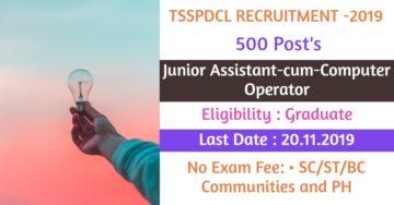 TSSPDCL Recruitment 2019 Junior Assistant cum Computer Operator Post Online Apply Dates Eligibility Exam Date