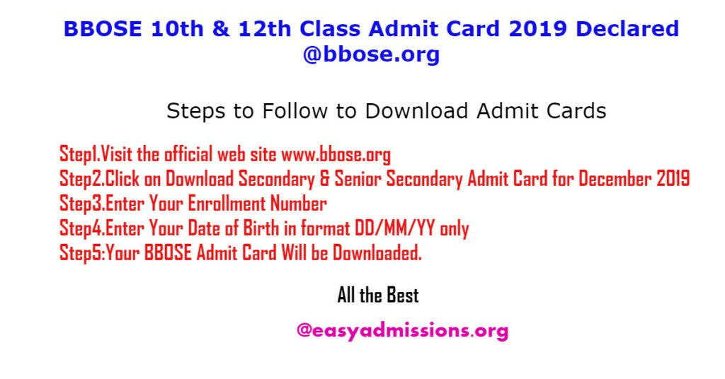 BBOSE 10th & 12th Class Admit Card 2019 Declared @bbose.org
