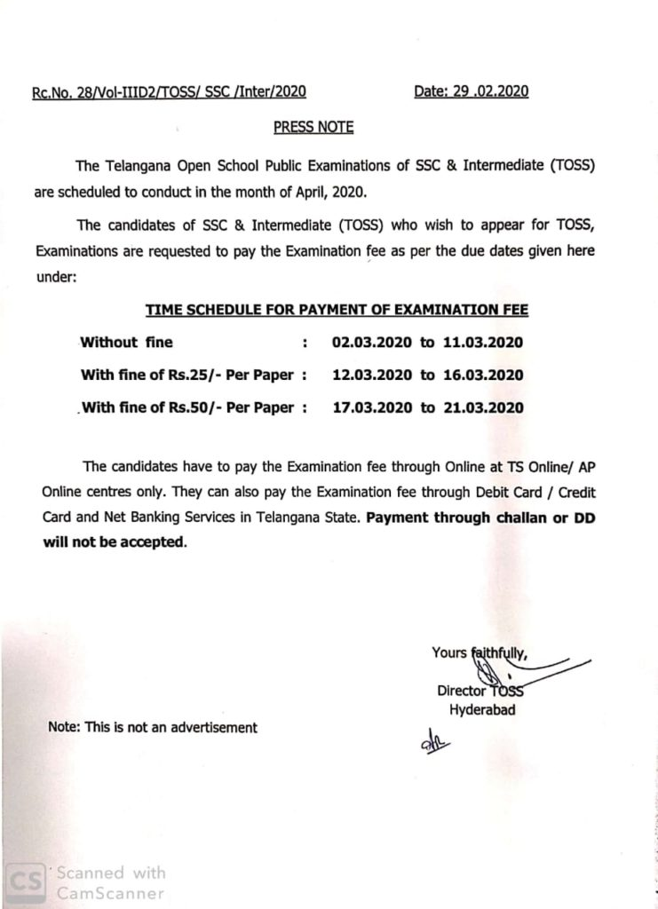 Telangana Open School SSC & Inter Exam Fee Dates for April 2020 Exam