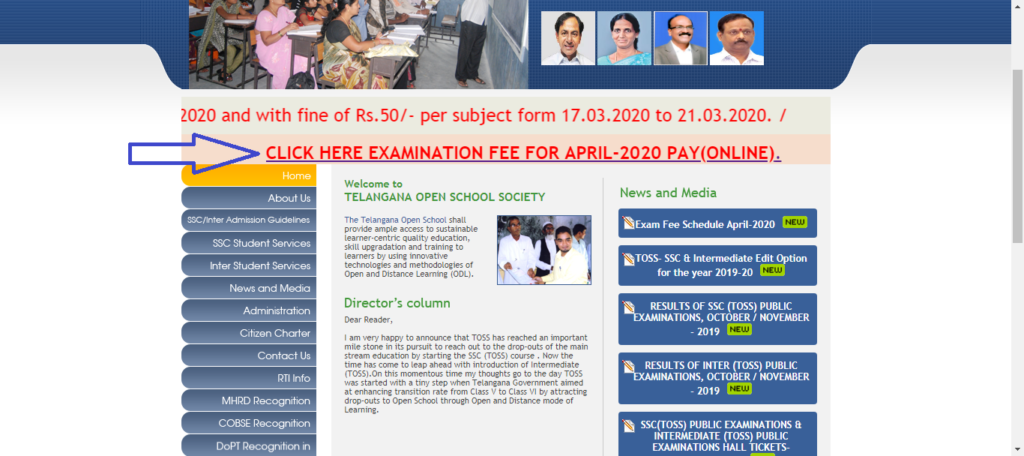 TOSS ONLINE EXAM FEE PAYMENT FOR APRIL 2020 EXAM