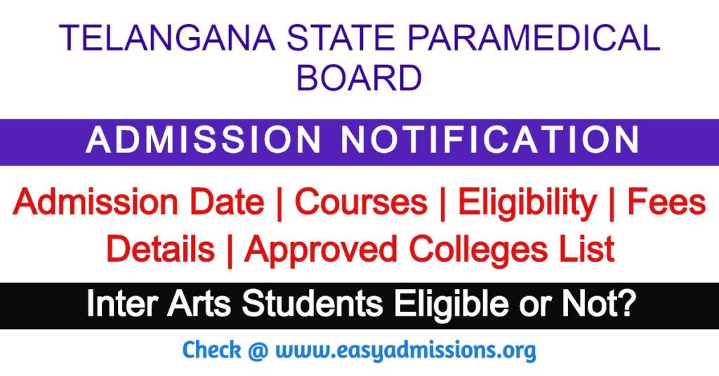 Telangana Paramedical Board Admission Notification