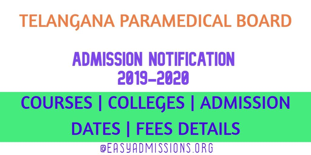 ts paramedical board admission notification 2019-2020