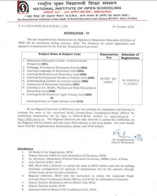 nios deled re exam fees details