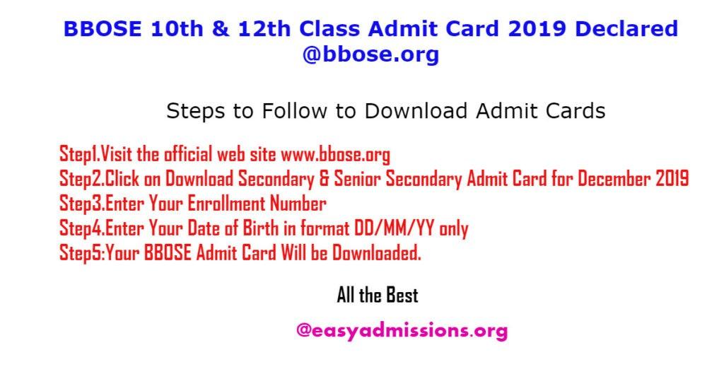 BBOSE 10th & 12th Class Admit Card 2019 Declared @bbose.org