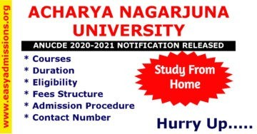 Acharya Nagarjuna University ANUCDE 2020-21 Admission Dates