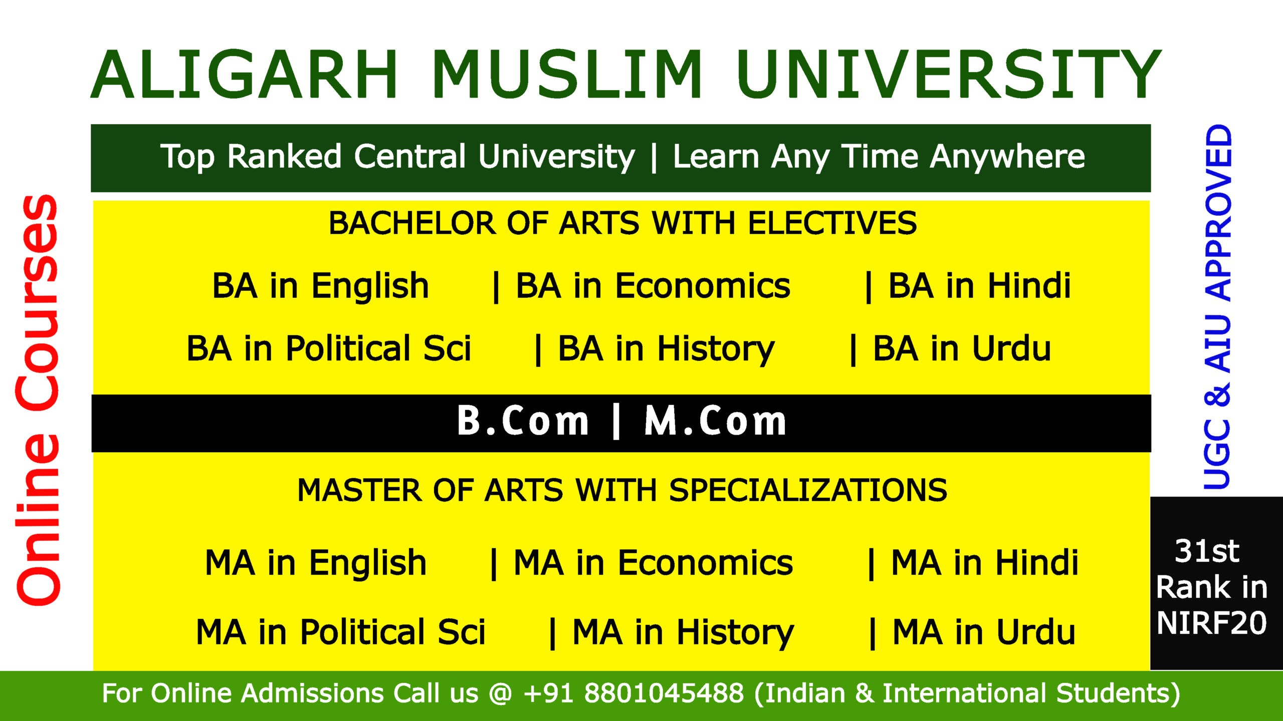 How to Apply Aligarh Muslim University Online Courses |+91 8801045488