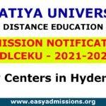 Kakatiya University Distance Education Notification 2021-2022  SDLCEKU Open Degree
